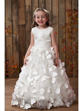 Glorious A-line Scoop Sleeveless Floor-length Appliques Flower Girl Dress & informal Flower Girl Dresses
