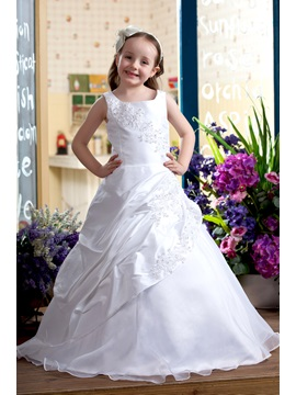 Pretty A-Line Round-neck Floor-Length Satin Flower Girls Dress & fairytale Flower Girl Dresses