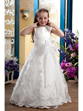 Appliques Bowknot Sash Flower Girl Dress