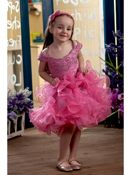 Capped Sleeves Ruffles Beaded Flower Girl Dress