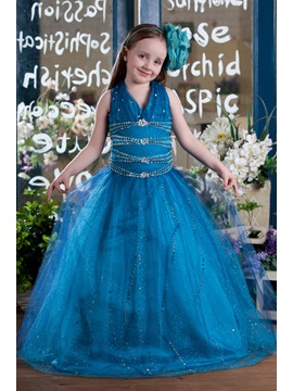 Elegant A-line Floor-length Halter Beading & Sequins Flower Girl Dress & Flower Girl Dresses online