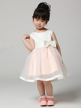 Cute Strapsless Tea-length Boeknot Sashes Flower Girl Dress & quality Flower Girl Dresses