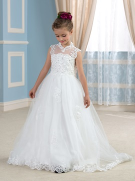 Sequins High Neck Appliques Flower Girl Dress