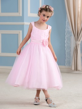 Cheap Tulle Overlay Pink Sashes Flower Girl Dress