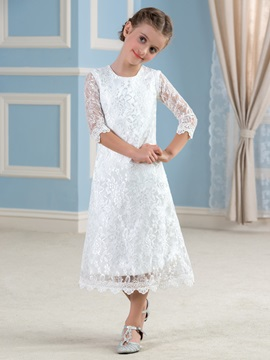 Cheap Ivory Long Sleeve Lace Flower Girl Dress & Flower Girl Dresses online