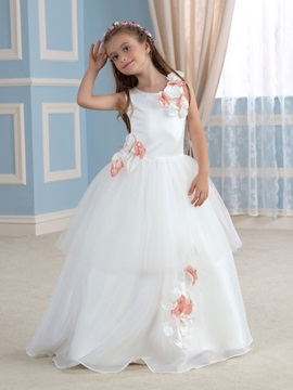Flowers Tiered White Flower Girl Dress & Flower Girl Dresses for sale