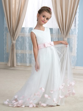 Floor Length A-Line V-Neck Flower Girl Dress with Satin Sash Floral Bowknot & Flower Girl Dresses under 300
