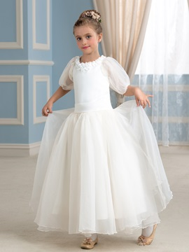 Floral Puffball Sleeve Princess Flower Girl Dress