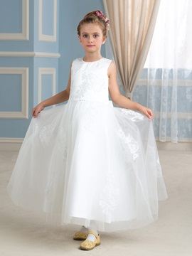 Ivory Tulle Princess Flower Girl Dress