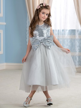 Cute Sequin Bowknot Silver Flower Girl Dress & colorful Flower Girl Dresses