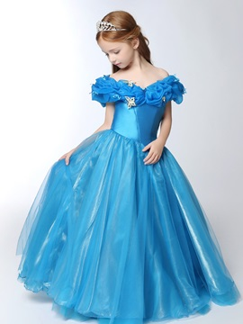 Floor Length Ball Gown Off the Shoulder Cinderella Girl's Party Dress & Flower Girl Dresses from china