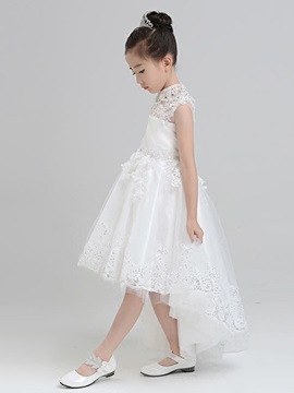 Beautiful High Neck Asymmetry Princess Flower Girl Dress