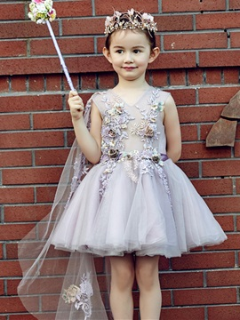 Cute V Neck Lace-Up Short Flower Girl Dress & Flower Girl Dresses on sale