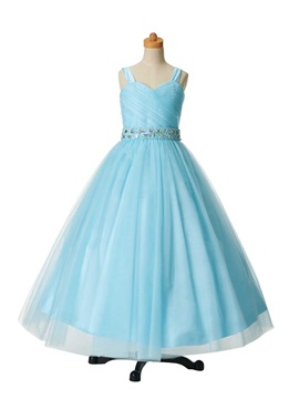Dramatic Straps Beaded Tulle Flower Girl Dress & romantic Flower Girl Dresses