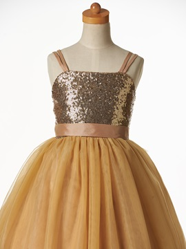 Cute Straps Sequins Ball Gown Flower Girl Dress