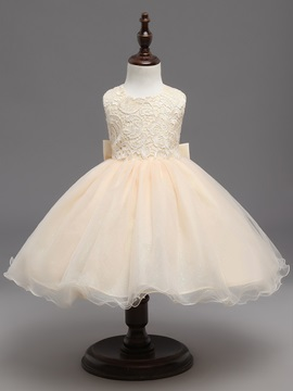 Pretty Straps Lace Backless Ball Gown Flower Girl Dress