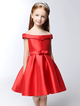 Off the Shoulder Button A-Line Red Girl Party Dress