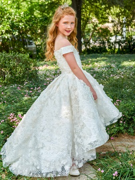 Off the Shoulder Lace High Low Flower Girl Dress & Flower Girl Dresses from china