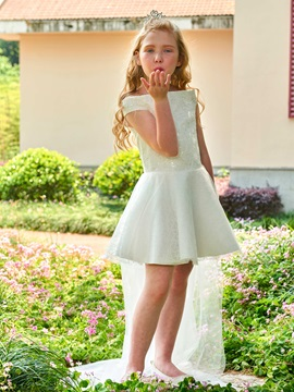 Off the Shoulder A-Line Sequined Lace Flower Girl Dress