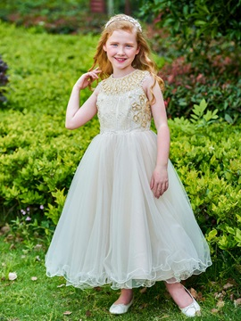 Luxurious Jewel Neck Beading Long Girl Party Dress & romantic Flower Girl Dresses