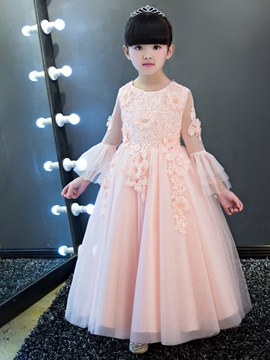 Modern Long Sleeves Appliques Flower Girl Dress & Flower Girl Dresses under 100