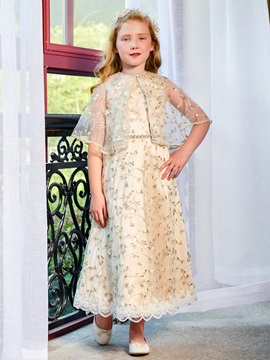 Parent-Child Straps Beaded Belt Tea-Length Lace Girls Party Dress