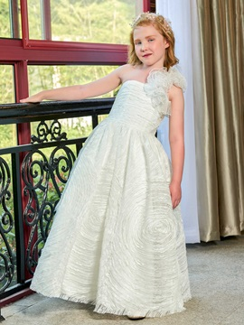 Parent-Child One Shoulder Flowers Lace First Communion Dress