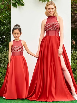 Parent-Child Modern Straps Sequins Red Girls Party Dress