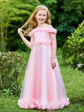 Parent-Child Off the Shoulder Flowers Girls Party Dress & Flower Girl Dresses 2012