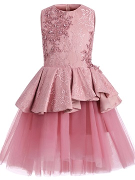 Modern Jewel Neck Appliques Lace Girls Party Dress