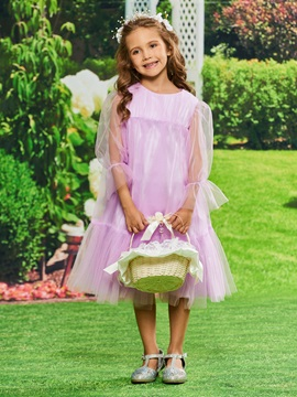 Empire Waist Long Sleeves Girls Party Dress