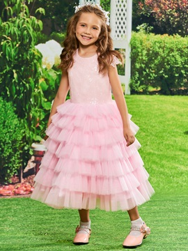 Cap Sleeve Sequins Tiered Tulle Girls Party Dress