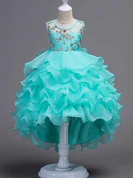 Scoop Neck Beading High Low Girl's Party Dress & quality Flower Girl Dresses