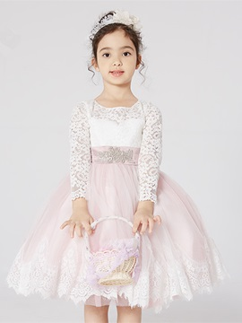 Long Sleeve Lace Knee-Length Flower Girl Dress & Flower Girl Dresses on sale