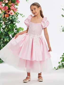 Lantern Sleeve Appliques Beading Tea-Length Girl's Party Dress