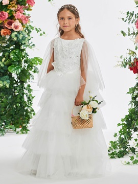 Fancy Appliques Tiered Flower Girl Dress