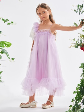 Lace Sleeve Flowers Ruffles Tea-Length Girl's Party Dress