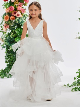 Sequined Lace V-Neck Flower Girl Dress