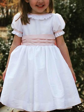 A-Line Tea-Length Ruffles Short Sleeves Flower Girl Dress 2019