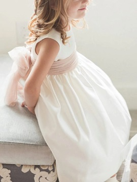 A-Line Scoop Neck Ribbons Flower Girl Dress 2019