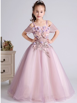 Short Sleeves 3D Floral Appliques Flower Girl Dress 2019