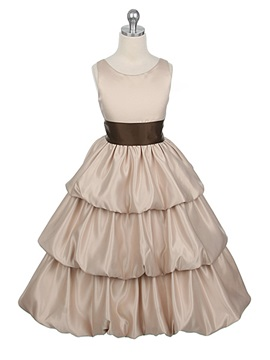 A-line Scoop Floor-length Tiered Flower Girl Dress with Sash & modest Flower Girl Dresses
