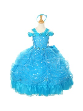 Amazing Straps Ball Gown Floor-length Ruched Flowers &Sequins Flower Girl Dress & Flower Girl Dresses on sale