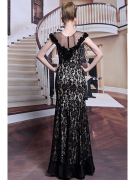 Luxurious Sheath Tulle Neckline Lace Flowers Beading Botton Evening Dress