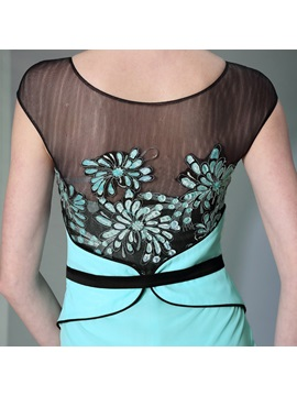 Popular Applique A-Line Scoop Neckline Filament Floor Length Evening Dress