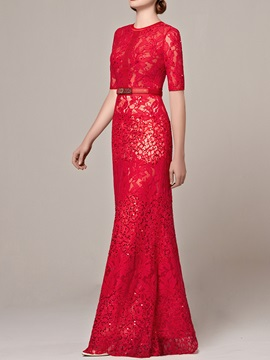 Vintage Jewel Neck Half Sleeves Lace Evening Dress