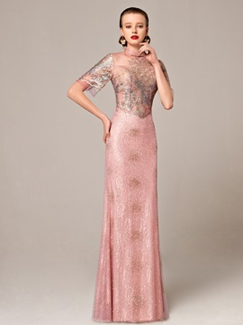 High Neck Short Sleeves Sheath Lace Evening Dress