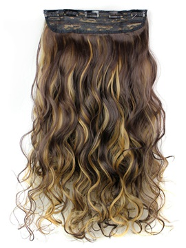 4H/27 Long Wave Synthetic One Piece Clip In Hair Extension 24 Inches