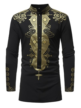Dashiki African Style Mid-Length Men's Casual Shirt
