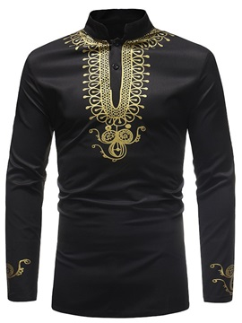 Black Dashiki African Print Men's Long Shirt T-Shirt